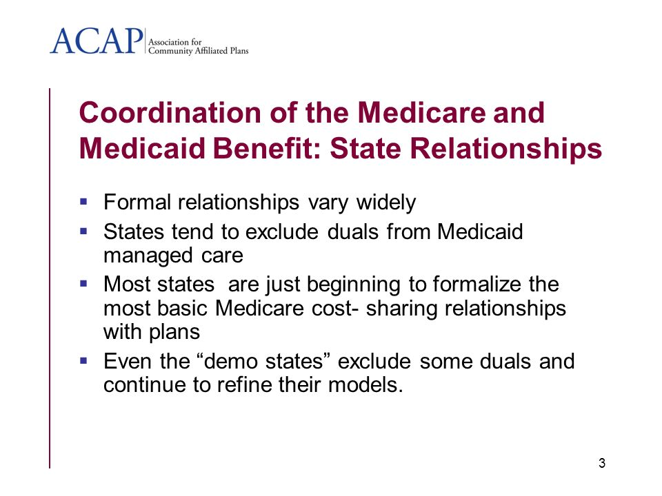 Coordination of the Medicare and Medicaid Benefit: State Relationships Formal relationships vary widely States tend to exclude duals from Medicaid managed care Most states are just beginning to formalize the most basic Medicare cost- sharing relationships with plans Even the demo states exclude some duals and continue to refine their models.