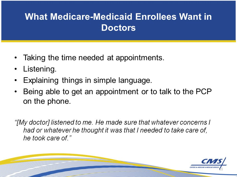 What Medicare-Medicaid Enrollees Want in Doctors Taking the time needed at appointments.