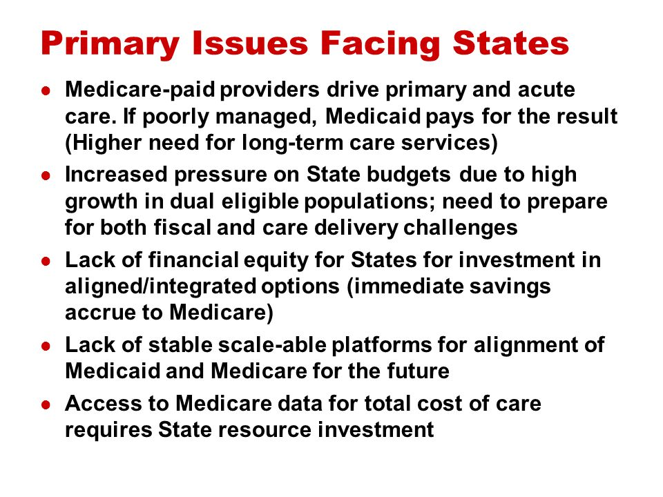 Primary Issues Facing States Medicare-paid providers drive primary and acute care.