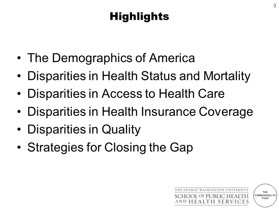 THE COMMONWEALTH FUND 3 Highlights The Demographics of America Disparities in Health Status and Mortality Disparities in Access to Health Care Disparities in Health Insurance Coverage Disparities in Quality Strategies for Closing the Gap