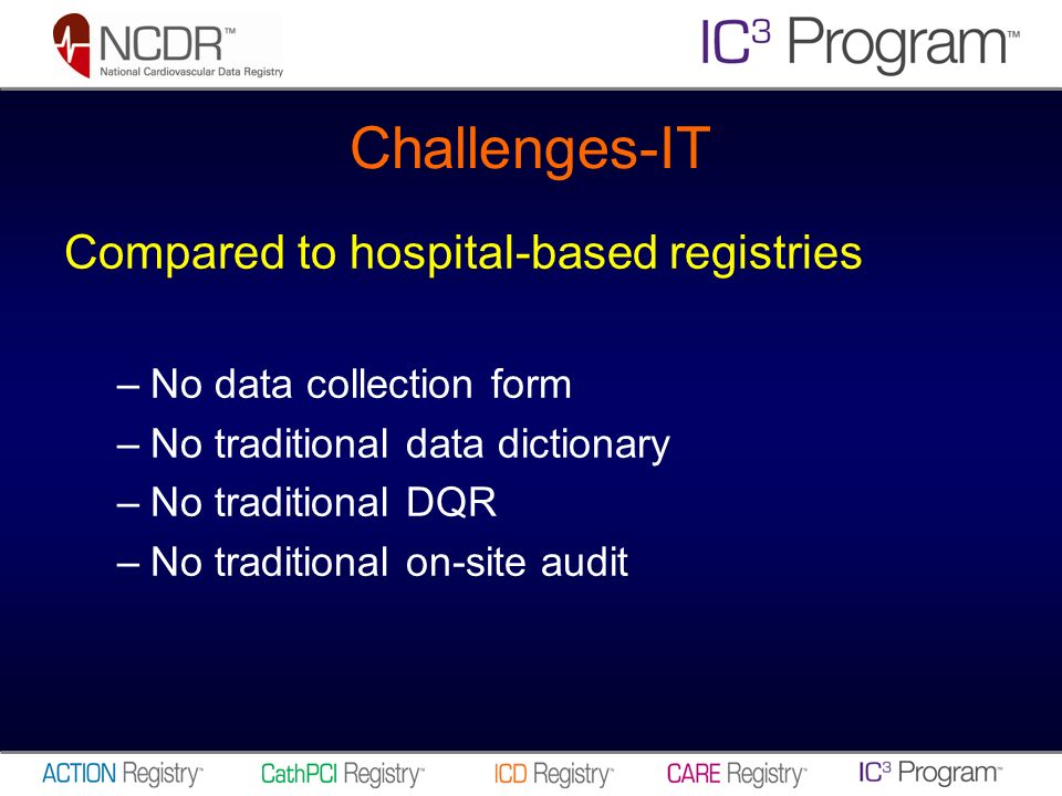 Challenges-IT Compared to hospital-based registries –No data collection form –No traditional data dictionary –No traditional DQR –No traditional on-site audit