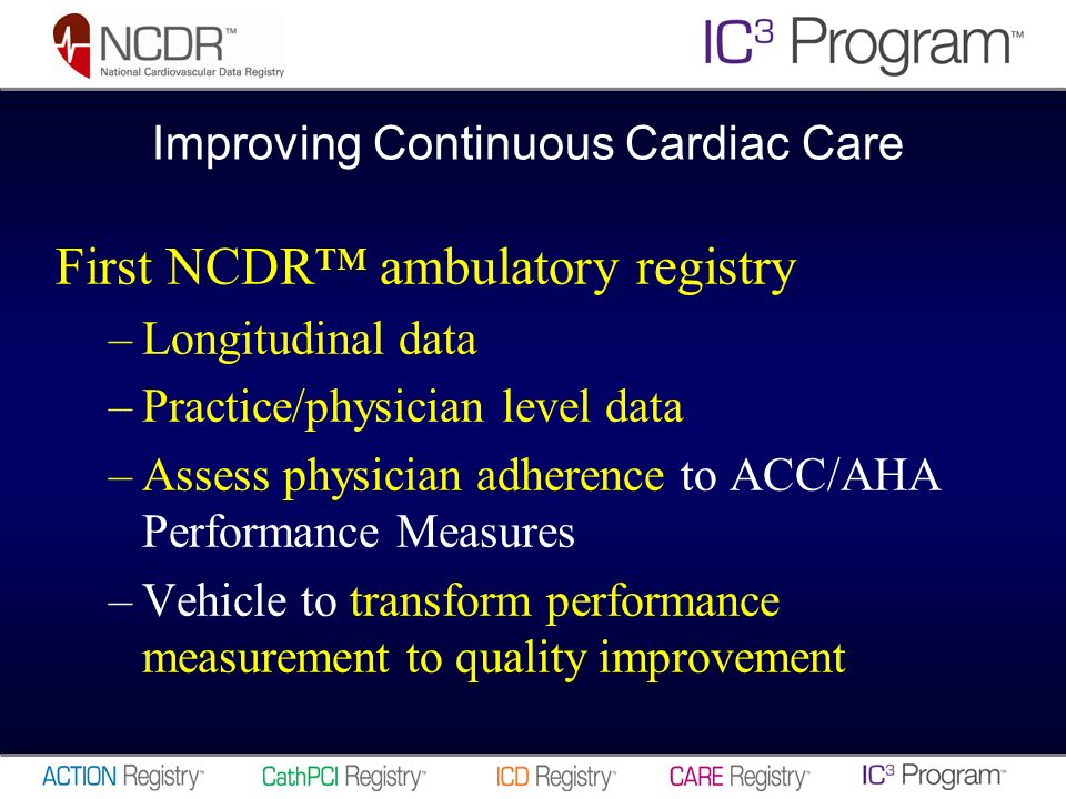 First NCDR ambulatory registry –Longitudinal data –Practice/physician level data –Assess physician adherence to ACC/AHA Performance Measures –Vehicle to transform performance measurement to quality improvement Improving Continuous Cardiac Care