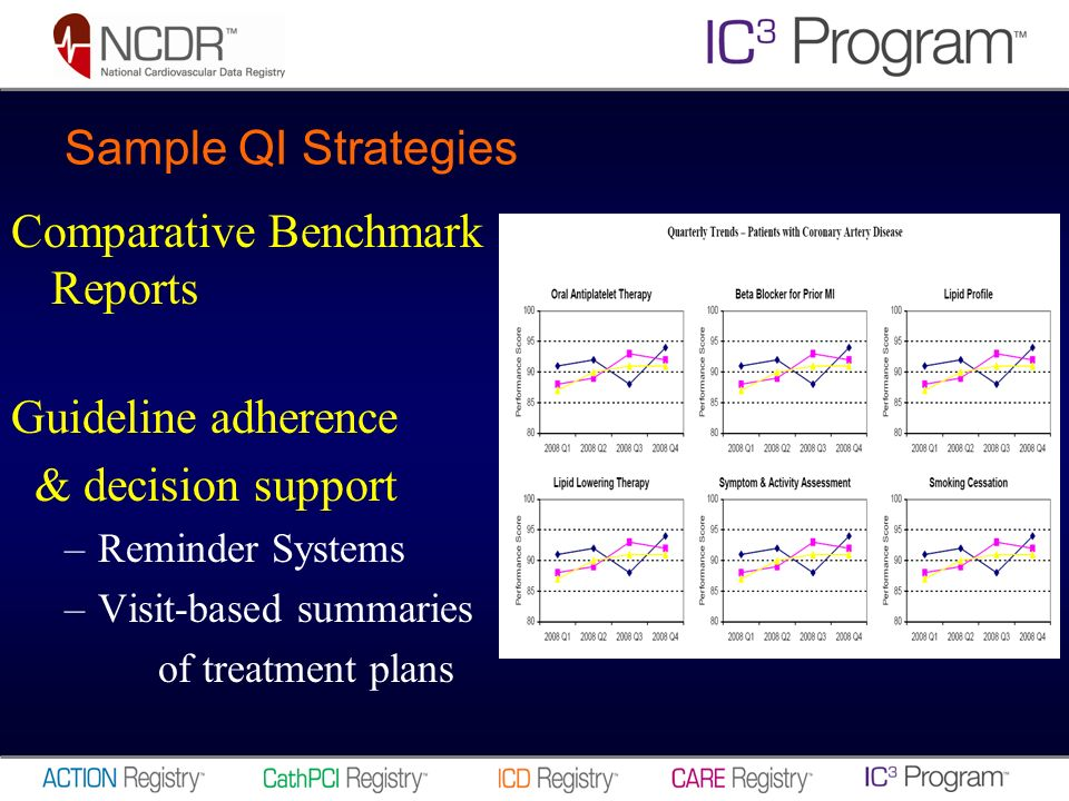 Sample QI Strategies Comparative Benchmark Reports Guideline adherence & decision support –Reminder Systems –Visit-based summaries of treatment plans
