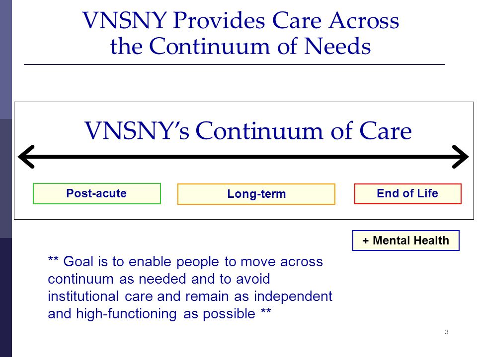 3 VNSNY Provides Care Across the Continuum of Needs + Mental Health VNSNYs Continuum of Care Post-acute Long-term End of Life ** Goal is to enable peo
