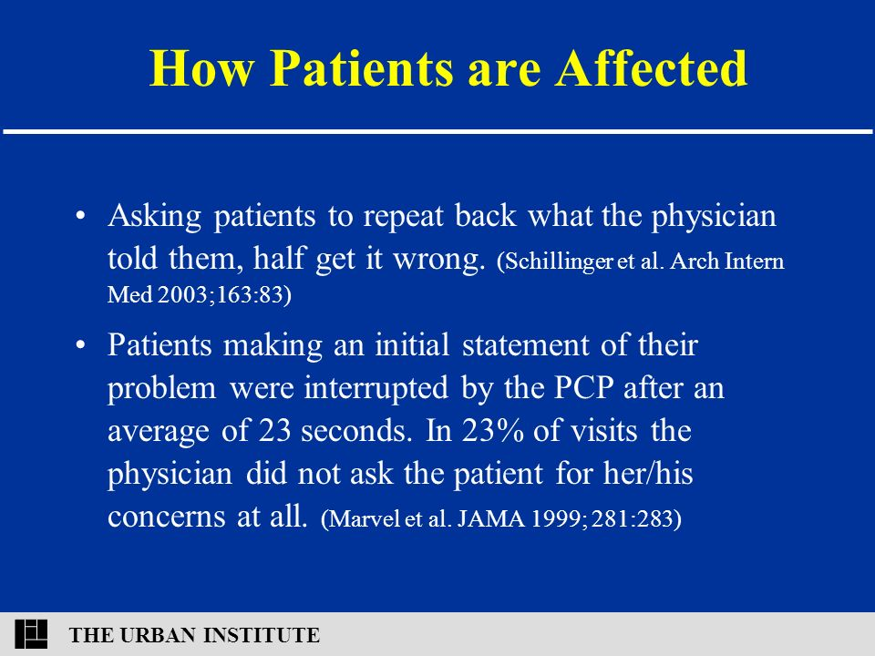 THE URBAN INSTITUTE How Patients are Affected Asking patients to repeat back what the physician told them, half get it wrong.