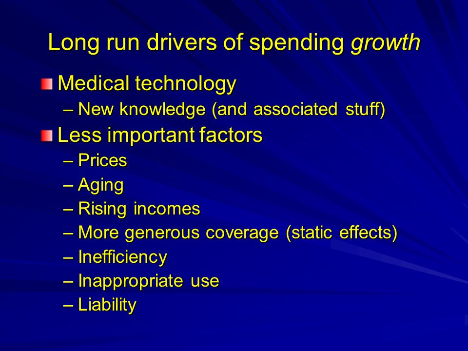 Long run drivers of spending growth Medical technology –New knowledge (and associated stuff) Less important factors –Prices –Aging –Rising incomes –More generous coverage (static effects) –Inefficiency –Inappropriate use –Liability