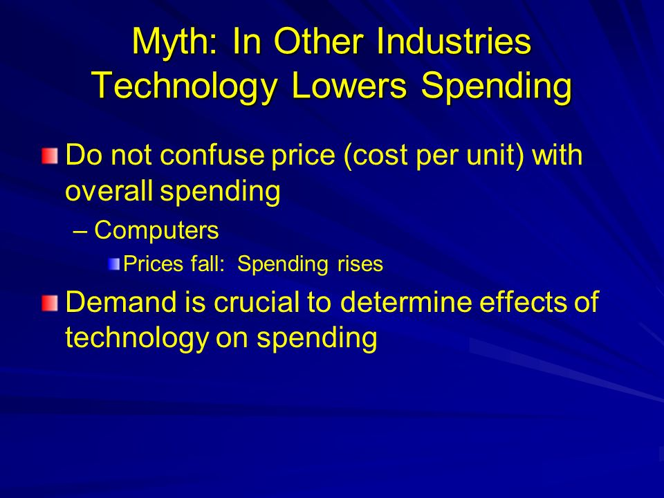 Myth: In Other Industries Technology Lowers Spending Do not confuse price (cost per unit) with overall spending – –Computers Prices fall: Spending rises Demand is crucial to determine effects of technology on spending