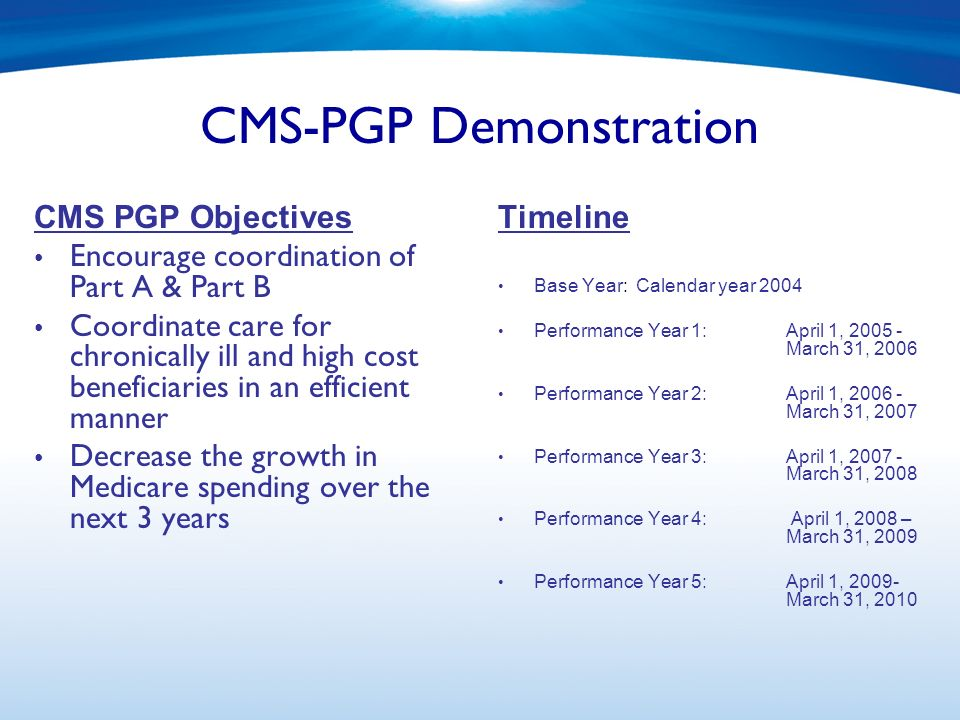 CMS-PGP Demonstration CMS PGP Objectives Encourage coordination of Part A & Part B Coordinate care for chronically ill and high cost beneficiaries in an efficient manner Decrease the growth in Medicare spending over the next 3 years Timeline Base Year: Calendar year 2004 Performance Year 1:April 1, 2005 - March 31, 2006 Performance Year 2:April 1, 2006 - March 31, 2007 Performance Year 3:April 1, 2007 - March 31, 2008 Performance Year 4: April 1, 2008 – March 31, 2009 Performance Year 5: April 1, 2009- March 31, 2010