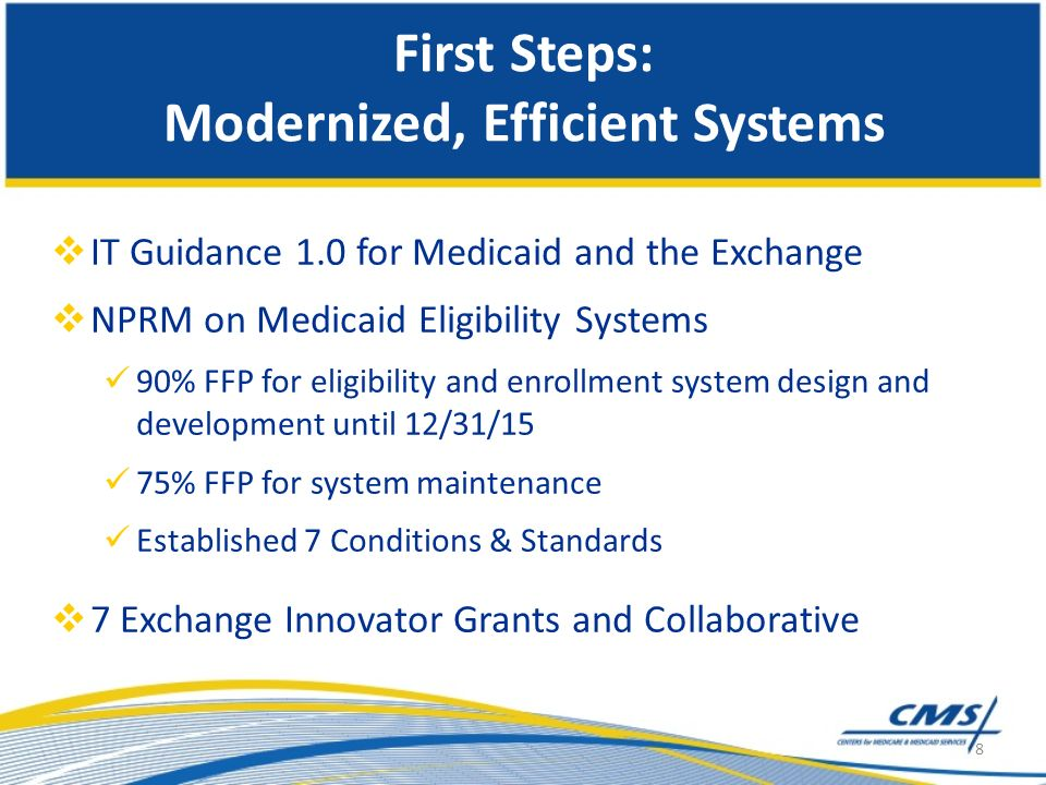 First Steps: Modernized, Efficient Systems IT Guidance 1.0 for Medicaid and the Exchange NPRM on Medicaid Eligibility Systems 90% FFP for eligibility and enrollment system design and development until 12/31/15 75% FFP for system maintenance Established 7 Conditions & Standards 7 Exchange Innovator Grants and Collaborative 8
