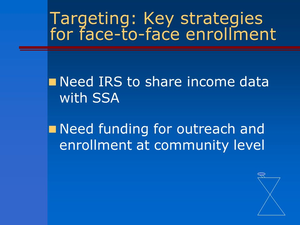 Targeting: Key strategies for face-to-face enrollment Need IRS to share income data with SSA Need funding for outreach and enrollment at community level