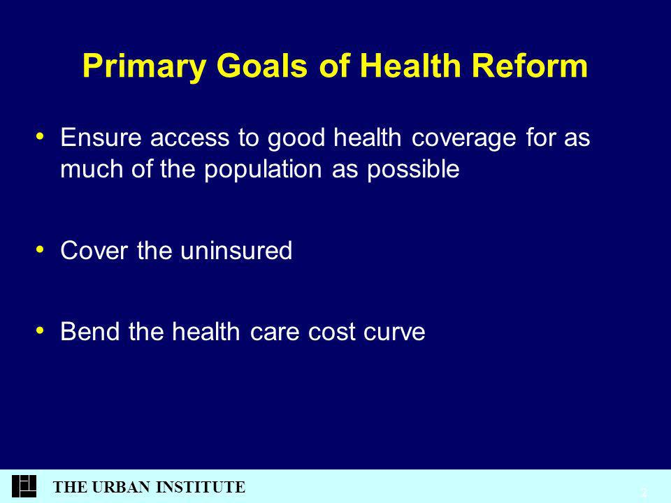 THE URBAN INSTITUTE 2 Primary Goals of Health Reform Ensure access to good health coverage for as much of the population as possible Cover the uninsured Bend the health care cost curve