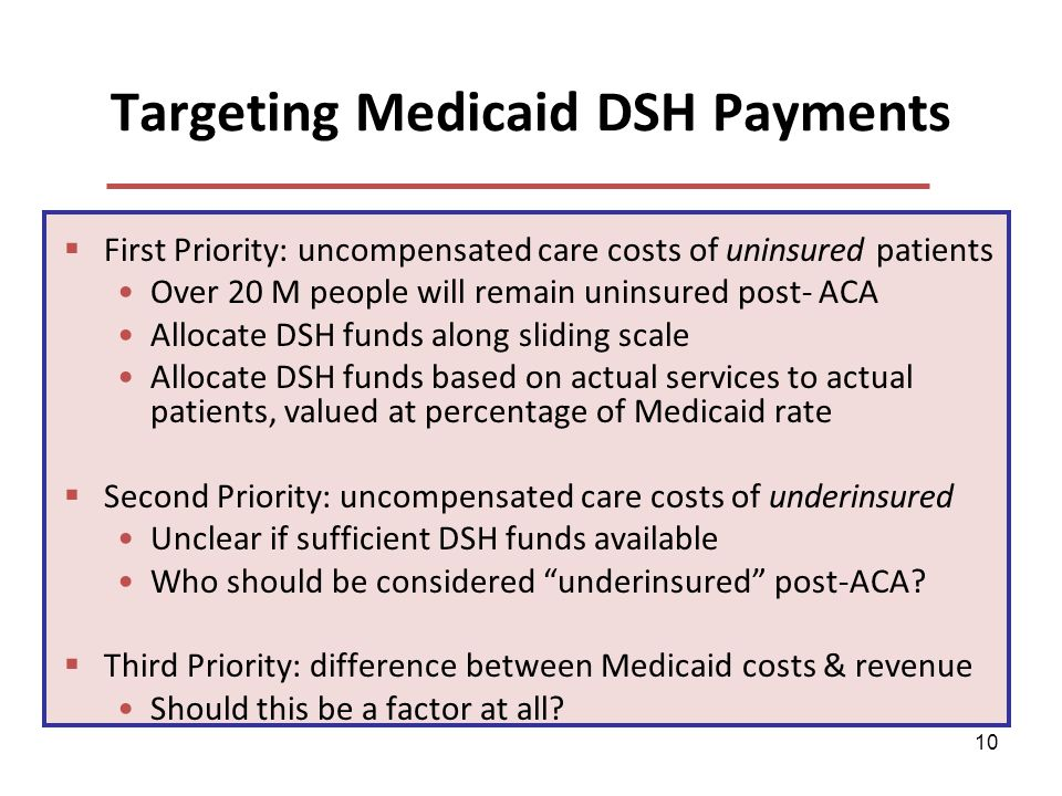 10 Targeting Medicaid DSH Payments First Priority: uncompensated care costs of uninsured patients Over 20 M people will remain uninsured post- ACA Allocate DSH funds along sliding scale Allocate DSH funds based on actual services to actual patients, valued at percentage of Medicaid rate Second Priority: uncompensated care costs of underinsured Unclear if sufficient DSH funds available Who should be considered underinsured post-ACA.