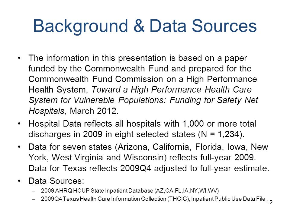 Background & Data Sources The information in this presentation is based on a paper funded by the Commonwealth Fund and prepared for the Commonwealth F