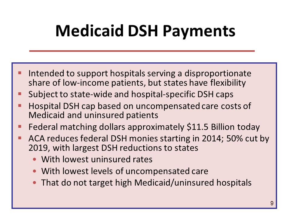 9 Medicaid DSH Payments Intended to support hospitals serving a disproportionate share of low-income patients, but states have flexibility Subject to