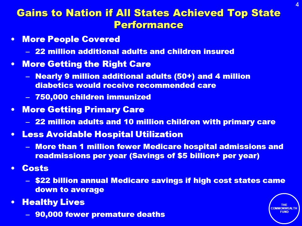4 THE COMMONWEALTH FUND Gains to Nation if All States Achieved Top State Performance More People Covered –22 million additional adults and children insured More Getting the Right Care –Nearly 9 million additional adults (50+) and 4 million diabetics would receive recommended care –750,000 children immunized More Getting Primary Care –22 million adults and 10 million children with primary care Less Avoidable Hospital Utilization –More than 1 million fewer Medicare hospital admissions and readmissions per year (Savings of $5 billion+ per year) Costs –$22 billion annual Medicare savings if high cost states came down to average Healthy Lives –90,000 fewer premature deaths