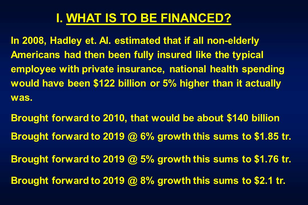I. WHAT IS TO BE FINANCED? In 2008, Hadley et. Al. estimated that if all non-elderly Americans had then been fully insured like the typical employee w