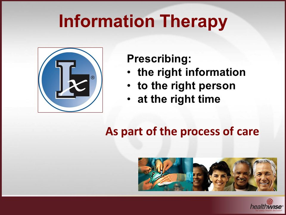 Information Therapy Prescribing: the right information to the right person at the right time As part of the process of care