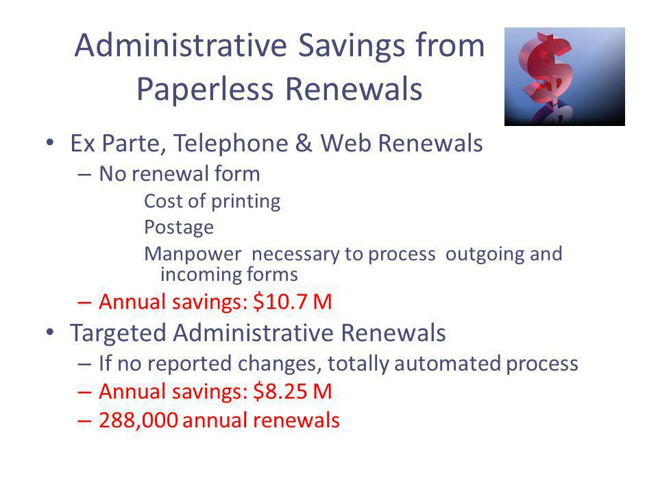 Administrative Savings from Paperless Renewals Ex Parte, Telephone & Web Renewals – No renewal form Cost of printing Postage Manpower necessary to process outgoing and incoming forms – Annual savings: $10.7 M Targeted Administrative Renewals – If no reported changes, totally automated process – Annual savings: $8.25 M – 288,000 annual renewals