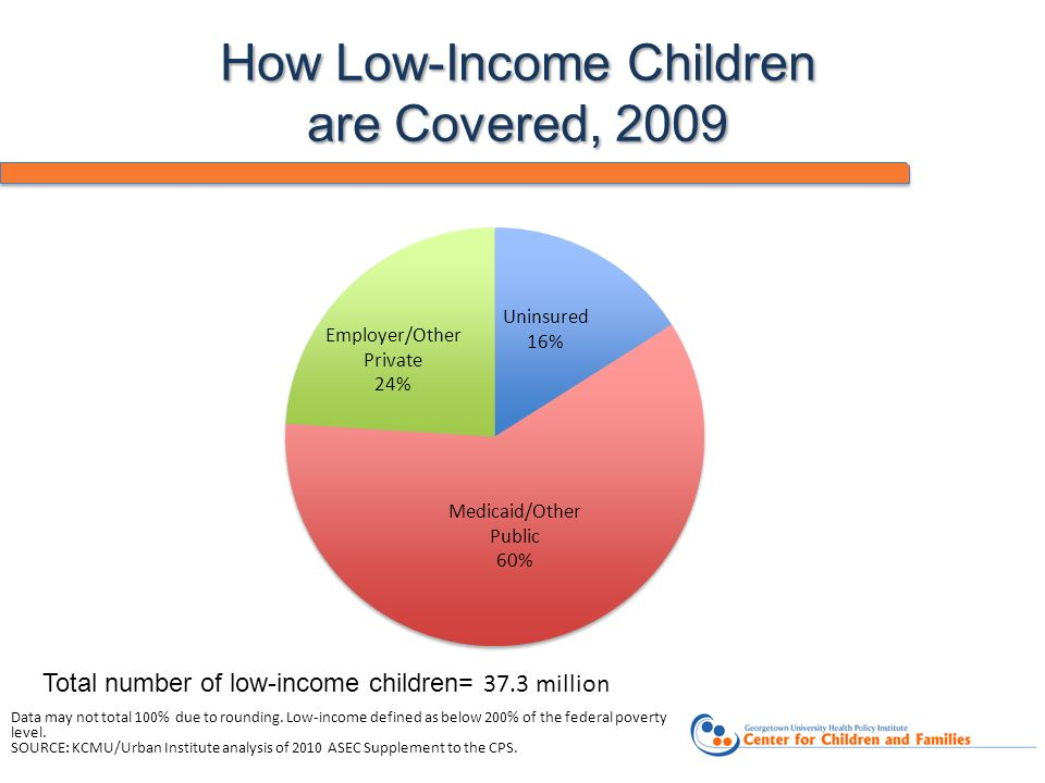 How Low-Income Children are Covered, 2009 Data may not total 100% due to rounding. Low-income defined as below 200% of the federal poverty level. SOUR