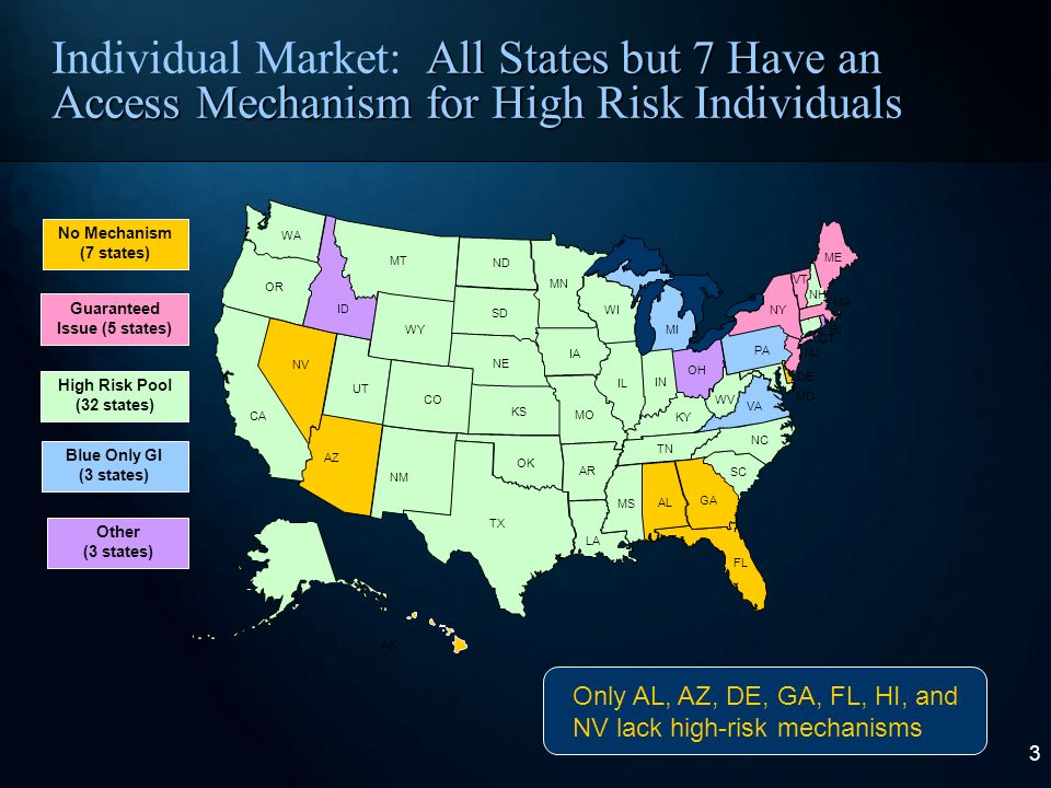 2 Individual Market: While State Approaches Vary, Kansas Rules Are Typical Guaranteed Renewability: All policies are renewable at the option of the policyholder High Risk Pool: High risk persons unable are guaranteed access through a high risk pool Rate Approval: Carriers are required to submit requested rate increases that the insurance department then reviews Pooling: Carriers must pool the experience of all their products together, even if they are no longer selling certain products No Re-Underwriting: Policyholders cannot be singled out for premium increases because they got sick after buying coverage