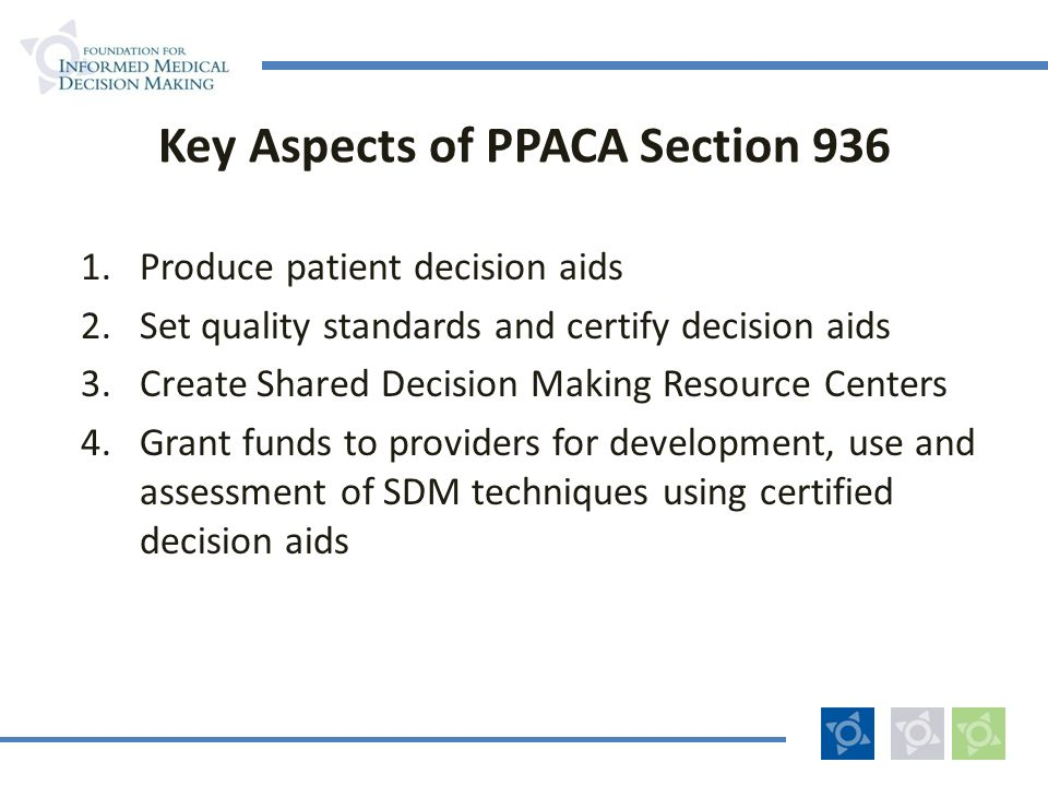 Key Aspects of PPACA Section 936 1.Produce patient decision aids 2.Set quality standards and certify decision aids 3.Create Shared Decision Making Res