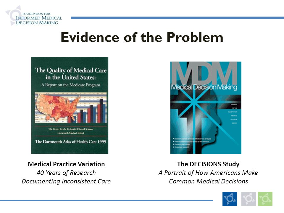 Evidence of the Problem The DECISIONS Study A Portrait of How Americans Make Common Medical Decisions Medical Practice Variation 40 Years of Research