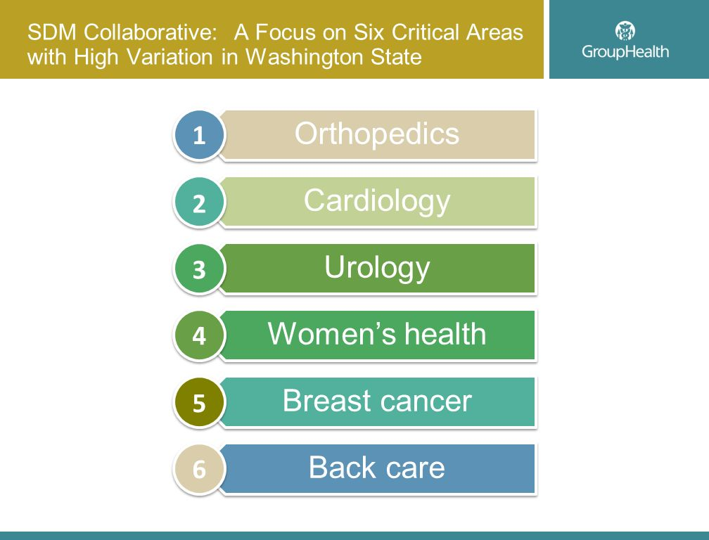 SDM Collaborative: A Focus on Six Critical Areas with High Variation in Washington State Orthopedics Cardiology Urology Womens health Breast cancer Back care