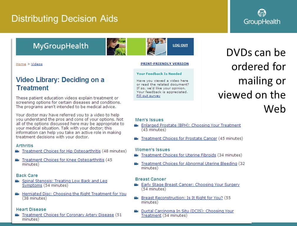 Distributing Decision Aids DVDs can be ordered for mailing or viewed on the Web