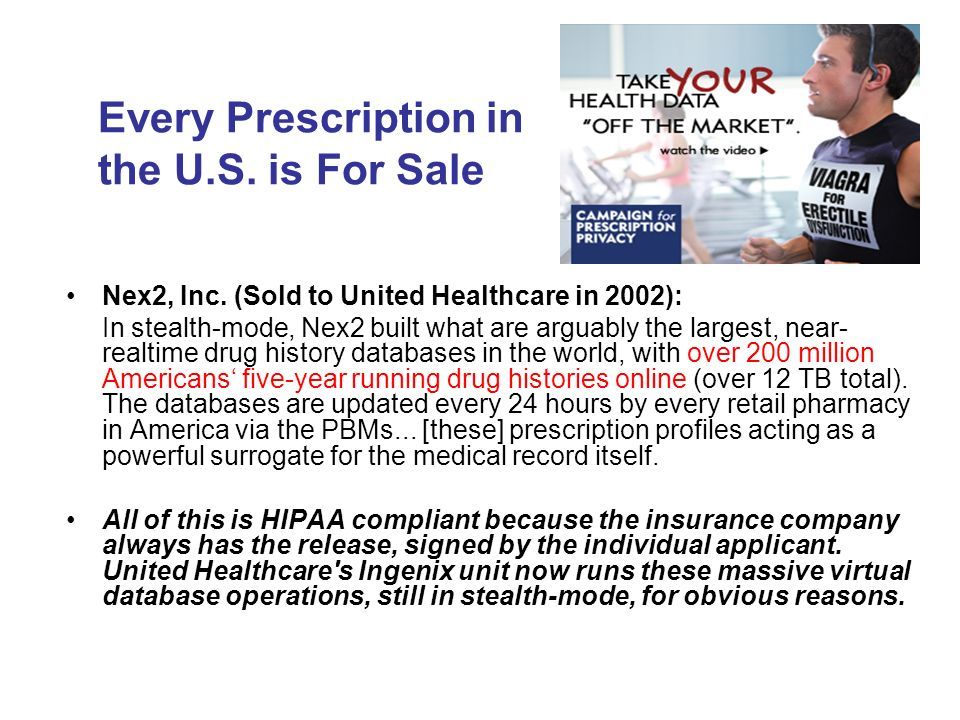 Every Prescription in the U.S. is For Sale Nex2, Inc.