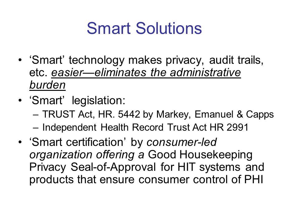 Smart Solutions Smart technology makes privacy, audit trails, etc.