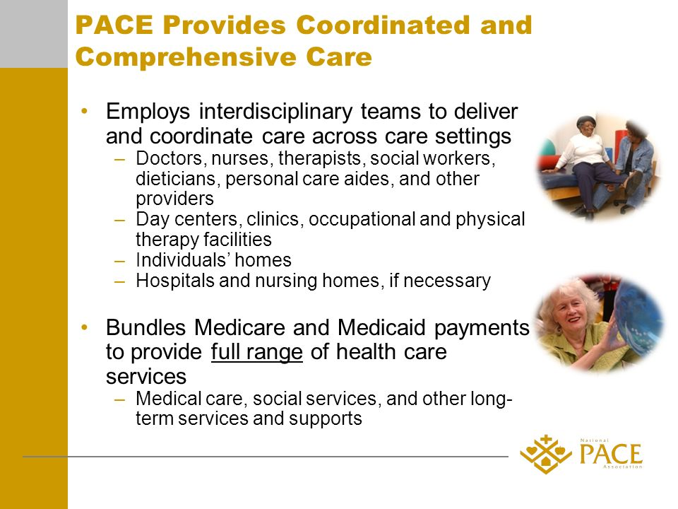 PACE Provides Coordinated and Comprehensive Care Employs interdisciplinary teams to deliver and coordinate care across care settings –Doctors, nurses, therapists, social workers, dieticians, personal care aides, and other providers –Day centers, clinics, occupational and physical therapy facilities –Individuals homes –Hospitals and nursing homes, if necessary Bundles Medicare and Medicaid payments to provide full range of health care services –Medical care, social services, and other long- term services and supports