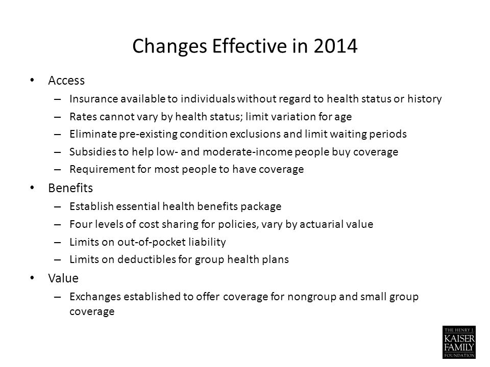 Changes Effective in 2014 Access – Insurance available to individuals without regard to health status or history – Rates cannot vary by health status; limit variation for age – Eliminate pre-existing condition exclusions and limit waiting periods – Subsidies to help low- and moderate-income people buy coverage – Requirement for most people to have coverage Benefits – Establish essential health benefits package – Four levels of cost sharing for policies, vary by actuarial value – Limits on out-of-pocket liability – Limits on deductibles for group health plans Value – Exchanges established to offer coverage for nongroup and small group coverage