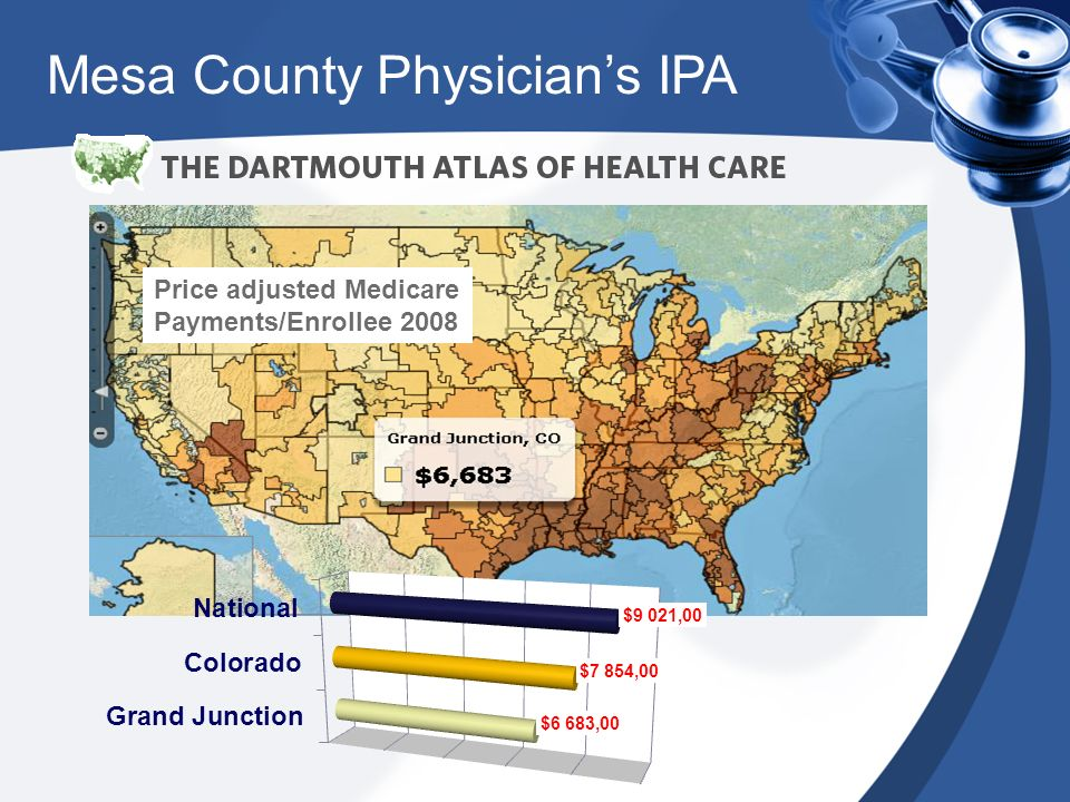 Price adjusted Medicare Payments/Enrollee 2008 Mesa County Physicians IPA