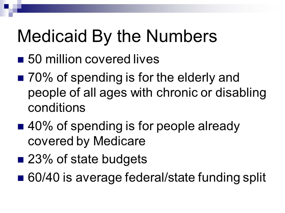Medicaid By the Numbers 50 million covered lives 70% of spending is for the elderly and people of all ages with chronic or disabling conditions 40% of spending is for people already covered by Medicare 23% of state budgets 60/40 is average federal/state funding split