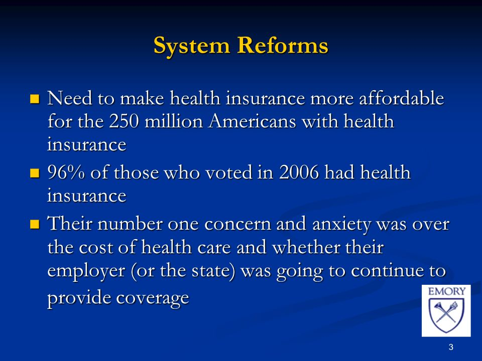 3 System Reforms Need to make health insurance more affordable for the 250 million Americans with health insurance Need to make health insurance more affordable for the 250 million Americans with health insurance 96% of those who voted in 2006 had health insurance 96% of those who voted in 2006 had health insurance Their number one concern and anxiety was over the cost of health care and whether their employer (or the state) was going to continue to provide coverage Their number one concern and anxiety was over the cost of health care and whether their employer (or the state) was going to continue to provide coverage