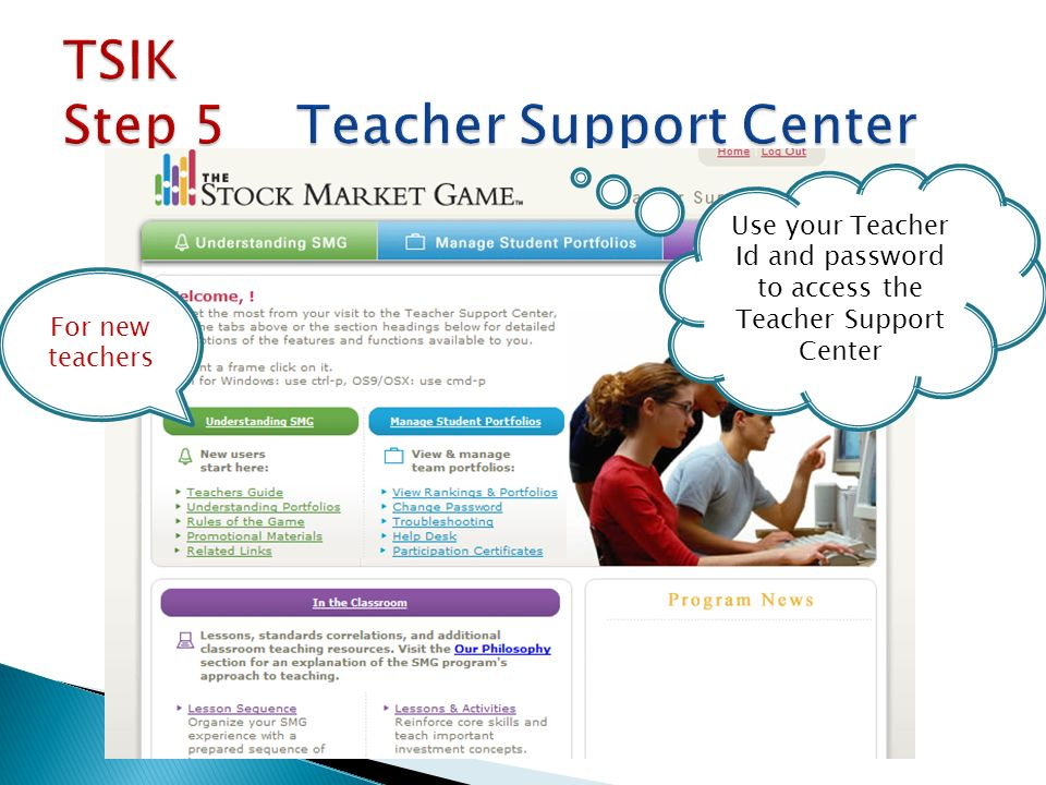Use your Teacher Id and password to access the Teacher Support Center For new teachers