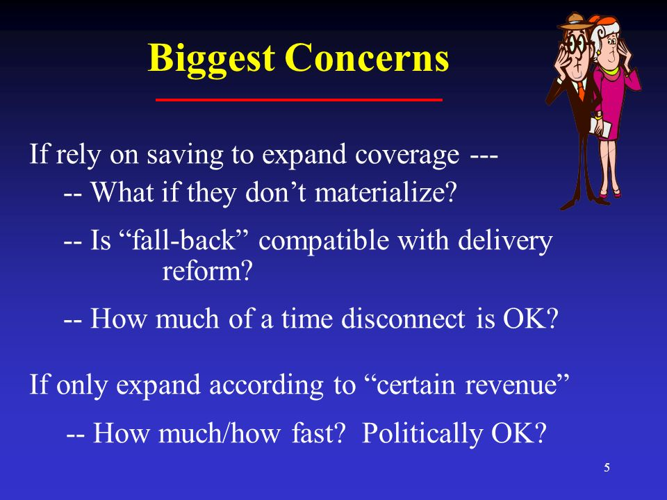 5 Biggest Concerns If rely on saving to expand coverage --- -- What if they dont materialize? -- Is fall-back compatible with delivery reform? -- How