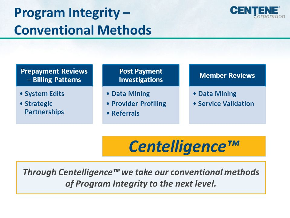Centene Preventive Approach Demand for faster, more accurate payment provides opportunities for engagement.