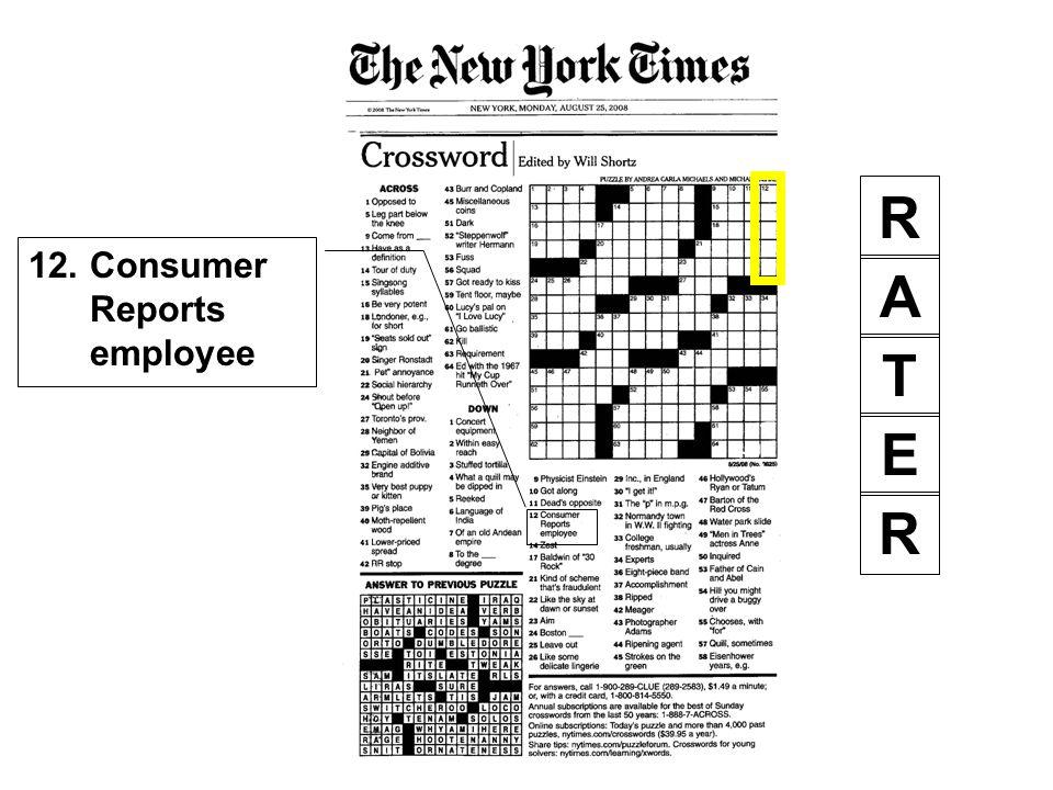 12. Consumer Reports employee R A E R T