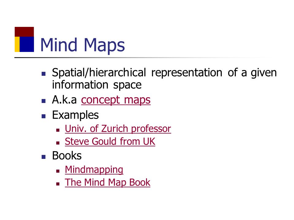 Mind Maps Spatial/hierarchical representation of a given information space A.k.a concept mapsconcept maps Examples Univ.