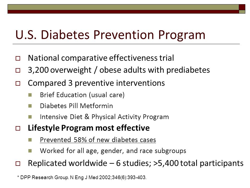 U.S. Diabetes Prevention Program National comparative effectiveness trial 3,200 overweight / obese adults with prediabetes Compared 3 preventive inter