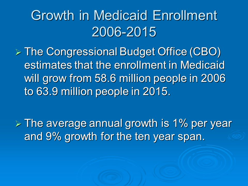 Growth in Medicaid Enrollment 2006-2015 The Congressional Budget Office (CBO) estimates that the enrollment in Medicaid will grow from 58.6 million people in 2006 to 63.9 million people in 2015.