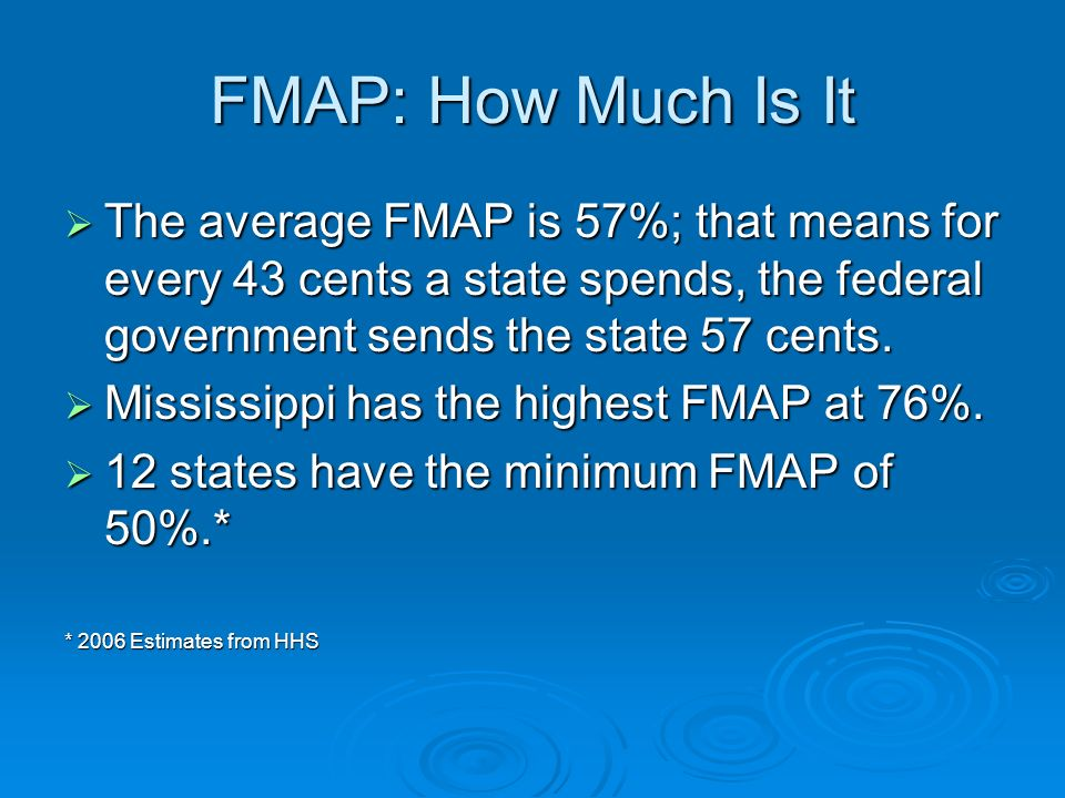FMAP: How Much Is It The average FMAP is 57%; that means for every 43 cents a state spends, the federal government sends the state 57 cents. The avera