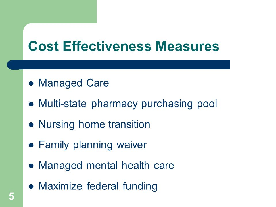 5 Cost Effectiveness Measures Managed Care Multi-state pharmacy purchasing pool Nursing home transition Family planning waiver Managed mental health care Maximize federal funding