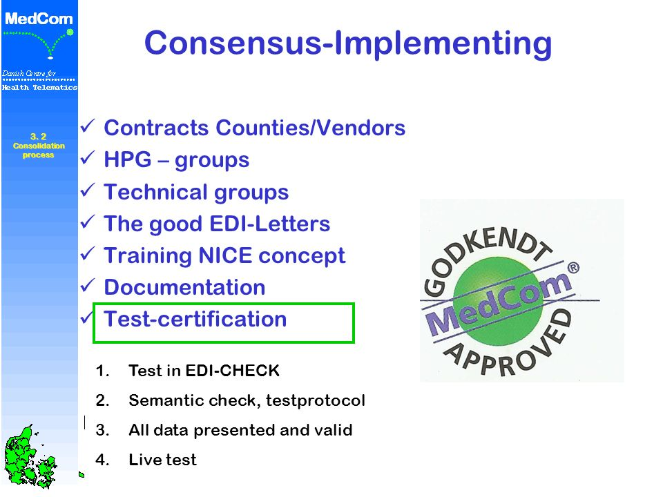 Consensus-Implementing Contracts Counties/Vendors HPG – groups Technical groups The good EDI-Letters Training NICE concept Documentation Test-certific