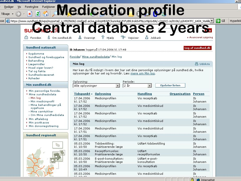 Medication profile Central database 2 years