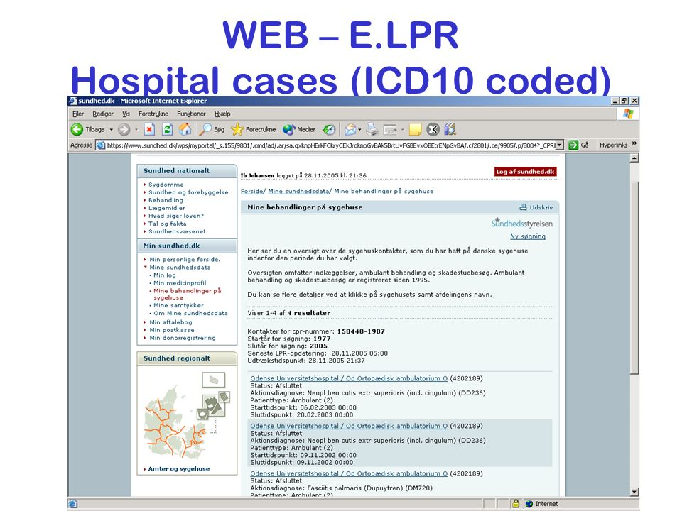 WEB – E.LPR Hospital cases (ICD10 coded)