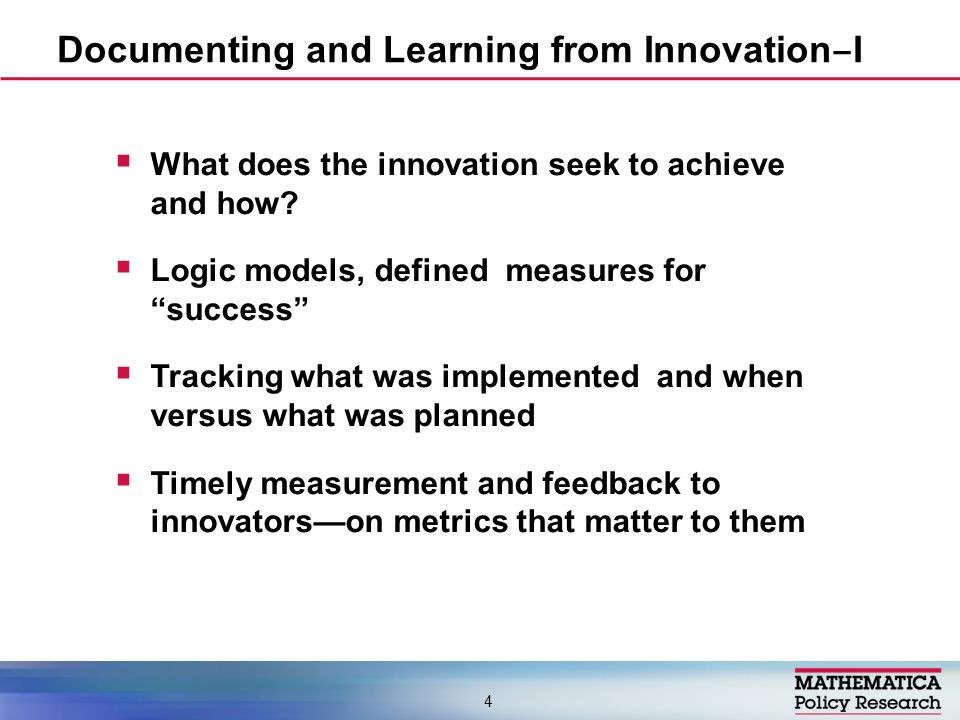 Efficiency: investing in shared metrics and approaches for cross-site learning –Characteristics of innovations –Characteristics of context –Common metrics of success Realistic expectations: implementation always takes longer than expected and more so if the context is complex Minimize barriers that slow or drain momentum Documenting and Learning from Innovation II 5