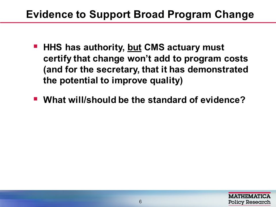 HHS has authority, but CMS actuary must certify that change wont add to program costs (and for the secretary, that it has demonstrated the potential t