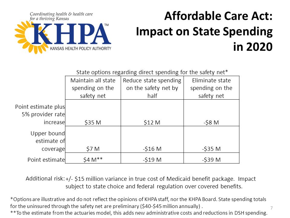 Affordable Care Act: Impact on State Spending in 2020 *Options are illustrative and do not reflect the opinions of KHPA staff, nor the KHPA Board.